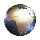 Africa on golden metallic Earth