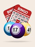 Bingo balls and red cards with shadow