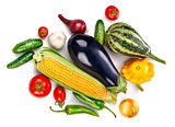 Vegetables fresh still life top view, isolated