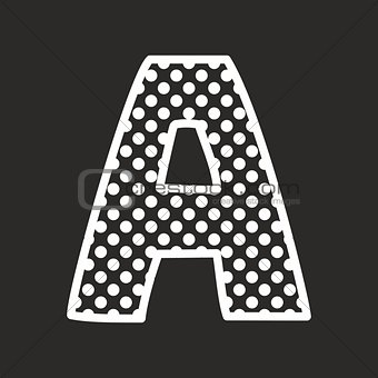 A vector alphabet letter with white polka dots on black background