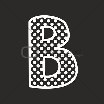 B vector alphabet letter with white polka dots on black background