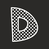 D vector alphabet letter with white polka dots on black background