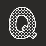 Q vector alphabet letter with white polka dots on black background