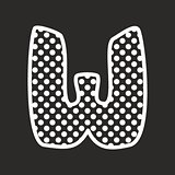 W vector alphabet letter with white polka dots on black background