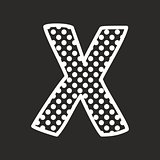 X vector alphabet letter with white polka dots on black background