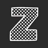 Z vector alphabet letter with white polka dots on black background