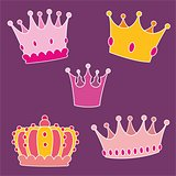 Pastel crown vector set