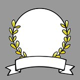 Laurel wreath vector frame on grey background