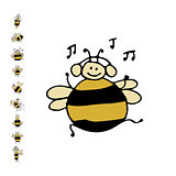 Funny dance bee, sketch for your design