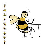 Funny office bee, sketch for your design