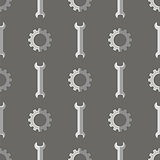 Set of Metallic Wrench Grey Seamless Pattern