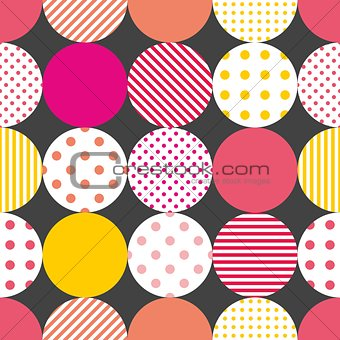 Tile patchwork vector pattern with pastel polka dots on black background