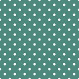 Tile vector pattern with white polka dots on dark mint green background