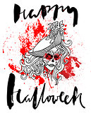Handdrawn lettering on watercolor blood drops background. Vector skull girl with sewn lips. Day of The Dead. Happy halloween. EPS10