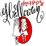 Pretty girl with an ax reflected in a mirror. Happy Halloween. Beautiful girl with her hands in the blood. Vector Halloween lettering.