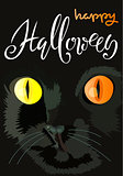 Halloween black cat with colored eyes. Halloween handwritten lettering. Vector illustration. EPS10