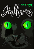 Halloween black cat with green eyes. Halloween handwritten lettering. Vector illustration. EPS10