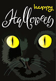 Halloween black cat with yellow eyes. Halloween handwritten lettering. Vector illustration. EPS10