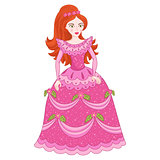 Illustration of red-haired princess in elegant pink dress with spangles