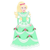 Illustration of beautiful blonde princess in elegant green dress with flowers