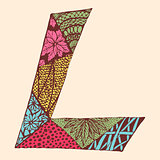 Vintage monogram L. Doodle colorful alphabet character with patterns