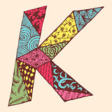 Vintage monogram K. Doodle colorful alphabet character with patterns
