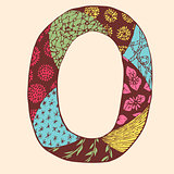 Vintage monogram O. Doodle colorful alphabet character with patterns