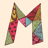 Vintage monogram M. Doodle colorful alphabet character with patterns
