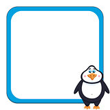 School background with cheerful cute penguin, funny frame