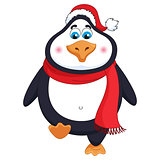 New Year's cheerful cute penguin in winter red hat and scarf walks