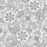 Seamless pattern with flowers and leafs in doodle mendie style.