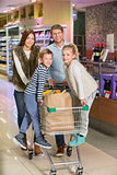 Family with cart