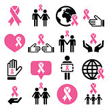 Breast cancer awareness pink ribbons icon set