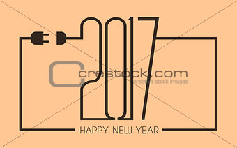 2017 Happy New Year Flat Style Background with stylized cable wire