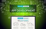 App Development Concept Background with Doodle design style