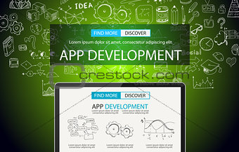 App Development Concept Background with Doodle design style