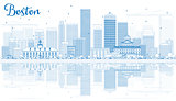 Outline Boston Skyline with Blue Buildings and Reflections.