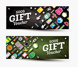 Gift voucher template with school supplies.