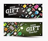 Gift voucher template with school supplies.