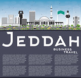 Jeddah Skyline with Gray Buildings, Blue Sky and Copy Space.