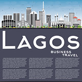 Lagos Skyline with Gray Buildings, Blue Sky and Copy Space.