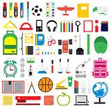 Set of school supplies. Vector illustration.
