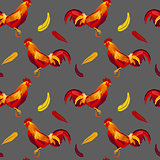 Vector image of red rooster seamless pattern