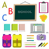 School supplies vector clip art objects.