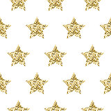 Gold foil shimmer glitter star seamless pattern.
