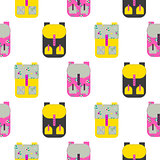 Backpack seamless vector pattern.