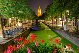 Night canal, Oude Kerk church, Delft, Netherlands
