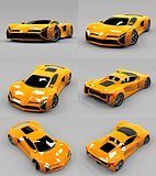 Set conceptual high-speed orange sports car. Gray uniform background. Glare and softer shadows. 3d rendering.