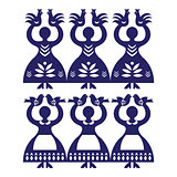 Polish folk art pattern Wycinanki Kolbielskie - Kolbiel Papercuts with women holding birds