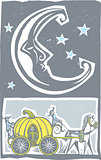 Woodcut style moon and Pumpkin Carriage